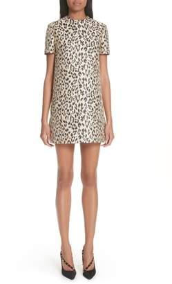 Valentino Leopard Print Brocade A-Line Dress
