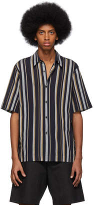 Dries Van Noten Navy Striped Clasen Shirt