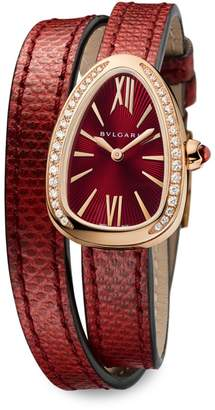 Bvlgari Serpenti Rose Gold, Diamond & Red Karung Strap Watch