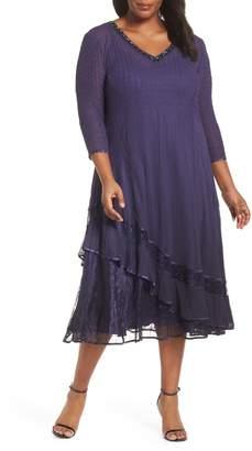 Komarov Embellished Bead Trim Tiered Chiffon Dress