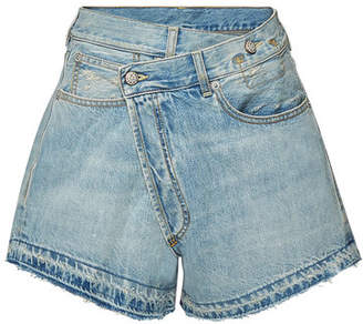 R 13 Crossover Denim Shorts with Distressed Detail