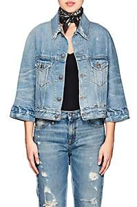 R 13 Women's Jackie Distressed Denim Trucker Jacket - Blue