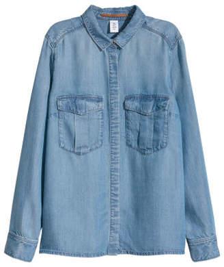 H&M Lyocell Utility Shirt - Blue