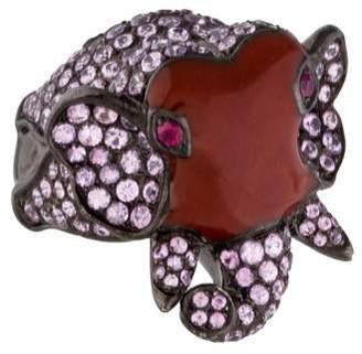 Helen Yarmak Pink Sapphire and Ruby Enamel Elephant Ring