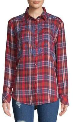 Free People Embroidered Plaid Button-Down Shirt