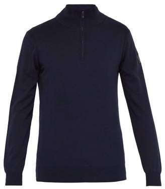 Belstaff Bay Zipped Cotton Blend Sweater - Mens - Navy