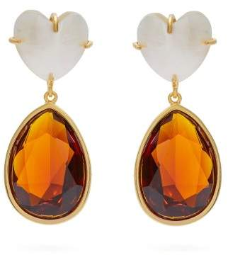 Lizzie Fortunato Shell And Crystal Gold Plated Drop Earrings - Womens - Brown