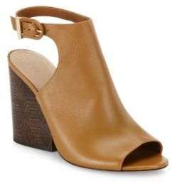 Tory BurchTory Burch Grove Open-Toe Leather Wedge Booties