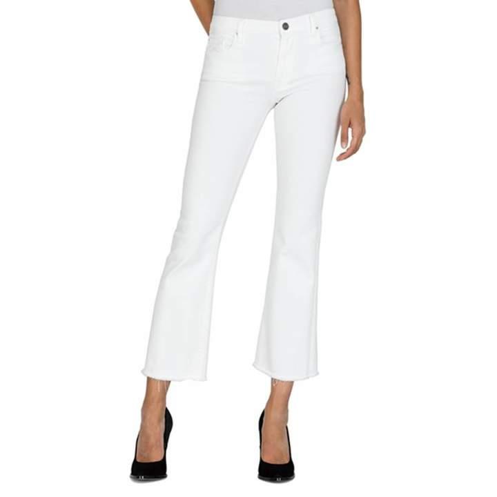 White Carlida Slim Bootcut Stretch Jeans