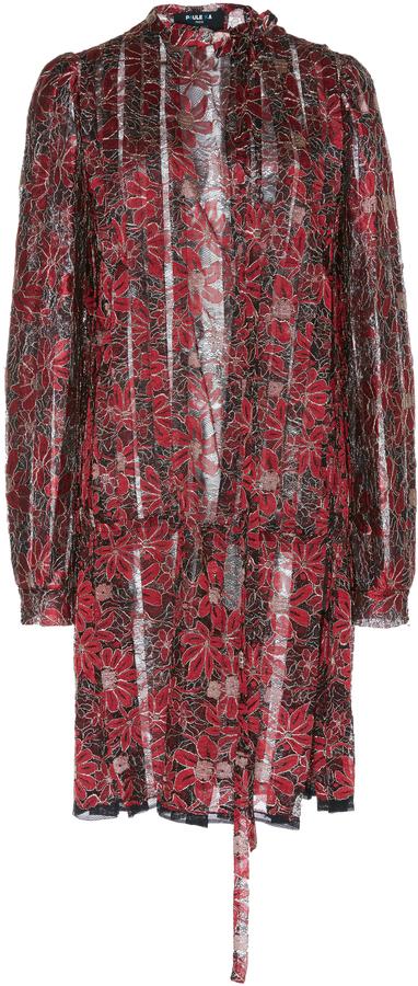 Paule KaPaule Ka Lurex Floral Lace Pleated Shirt Dress