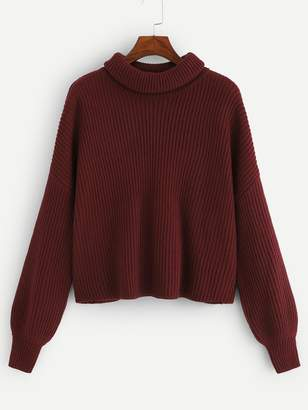 Shein Plus Solid Rib-knit Sweater
