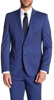 Nick Graham Striped Notch Collar Stretch Modern Fit Blazer