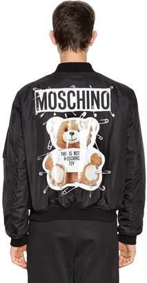 Moschino Logo & Teddy Printed Bomber Jacket