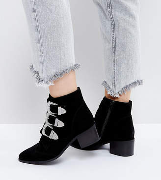 77b12d666af Asos Design RELIEVE Wide Fit Suede Buckle Ankle Boots