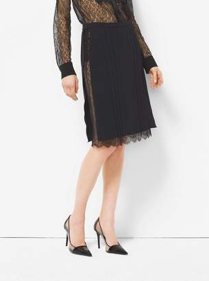 Michael Kors Silk Marocain and Chantilly Lace Skirt