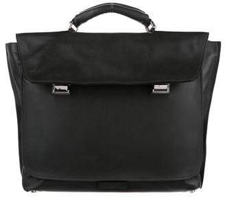Calvin Klein Collection Silver-Tone Leather Briefcase