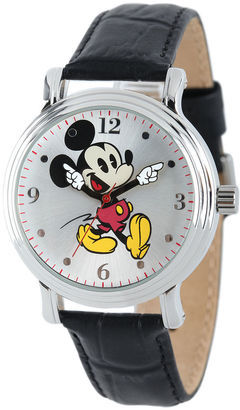 DISNEY Disney Mickey Mouse Womens Black Leather Strap Watch $49.99 thestylecure.com