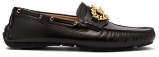Versace Medusa Leather Loafers - Mens - Black