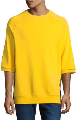PRPS Men's Oversized Short-Sleeve Side-Zip Sweatshirt