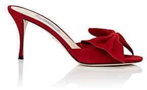 Prada Women's Bow-Embellished Suede Sandals-Rosso