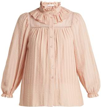 See by Chloe Ruffle-neck cotton top