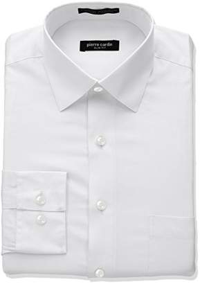 Pierre Cardin Men's Slim Fit Solid Broadcloth Semi Spread Collar Shirt