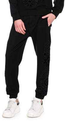 Alexander McQueen Flocked-Embellishment Sweatpants