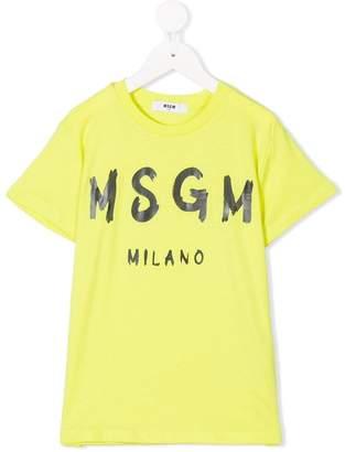 MSGM Kids spray paint logo T-shirt
