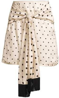 Mother of Pearl Polka-Dot Scarf Wrap Skirt