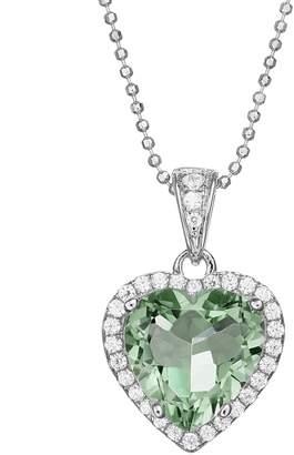 Sloane Rebecca Green Obsidian & Cubic Zirconia Platinum Over Silver Heart Halo Pendant Necklace