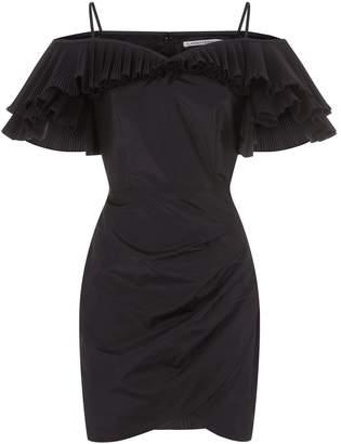 Alessandra Rich Taffeta Ruffle Dress