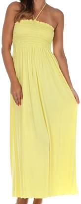Sakkas 5026 Jersey Solid Color String Halter Maxi Dress- /