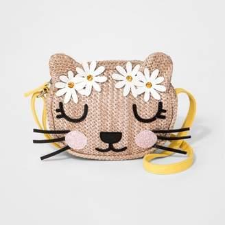 Cat & Jack Girls' Kitty Straw Paper Crossbody Bag Natural