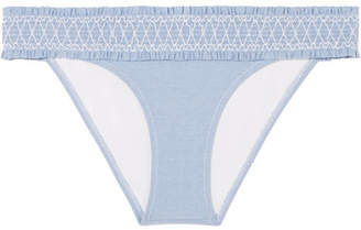 Heidi Klein Cassis Smocked Stretch-piqué Bikini Briefs - Light blue