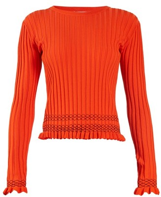 Altuzarra Malou Ruffled Cuff Ribbed Knit Sweater - Womens - Orange