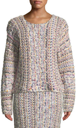 ADAM by Adam Lippes Crewneck Long-Sleeve Hand-Knit Tweed Sweater