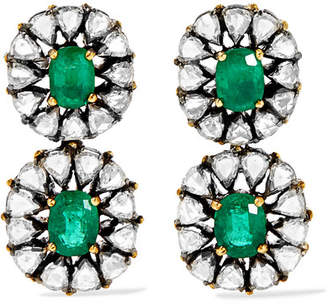 Amrapali 18-karat Gold, Sterling Silver, Emerald And Diamond Earrings - one size
