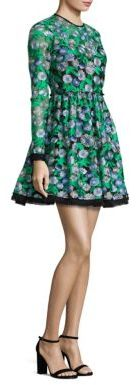 Shoshanna MIDNIGHT Floral Embroidered Fit-&-Flare Dress $580 thestylecure.com
