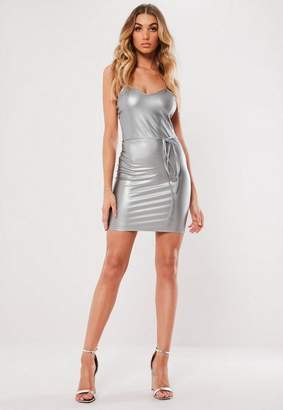 Missguided Silver Faux Leather Belted Cami Mini Dress