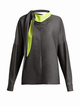 Tibi - Tie Neck Bandana Jersey Top - Womens - Dark Grey