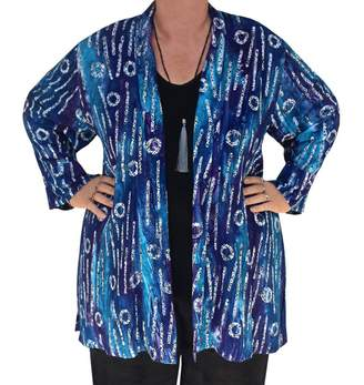 Fashion Fulfillment Boho Kimono Cardigan, Blue Navy Bohemian Jacket, 1x 2x Women's Plus Size Clothes