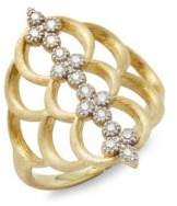 Jude Frances Moroccan 18K Yellow Gold Quad Open Crescent Ring