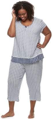 Croft & Barrow Plus Size Pajamas: V-Neck Tee & Capris 2-Piece PJ Set