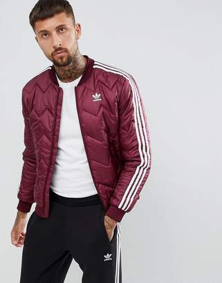 adidas Quilted Superstar Jacket In Red DH5014