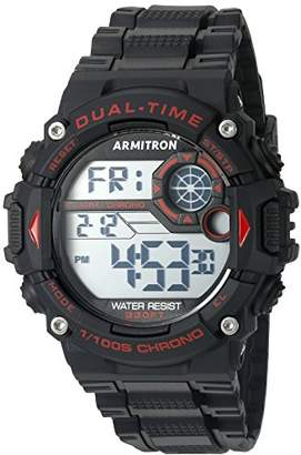Armitron Sport Men's 40/8356RED Red Accented Digital Chronograph Black Resin Strap Watch
