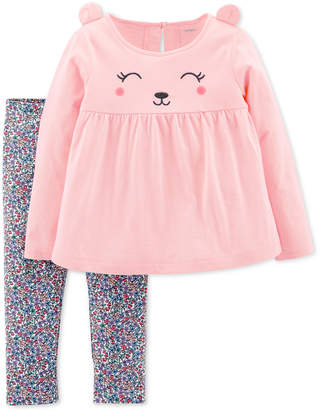 Carter's Baby Girls 2-Pc. Happy Bear Outfit Set