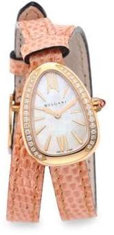 Bvlgari Serpenti Rose Gold& Diamond Double Twist Lizard Strap Watch