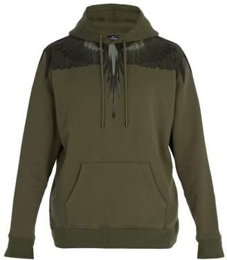 Marcelo Burlon County of Milan Wing Print Cotton Hooded Sweatshirt - Mens - Green