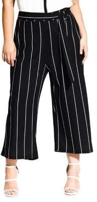 City Chic Plus Striped Cropped Pants