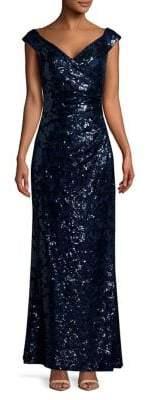 Lauren Ralph Lauren Hickory Sequin-Embellished Gown